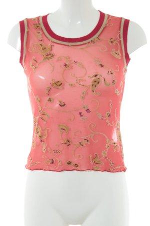Gabriella Frattini Top recortado rojo-color oro estampado floral elegante
