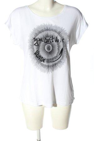 Gabriella K. T-Shirt weiß-schwarz Motivdruck Casual-Look