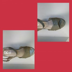 Gadea Platform High-Heeled Sandal slate-gray-pale blue leather