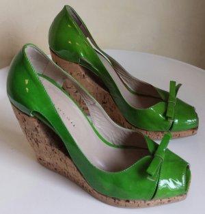 """""""gaia d´este"""" Kork-Wedges, Lackleder, grün, Größe 39"""