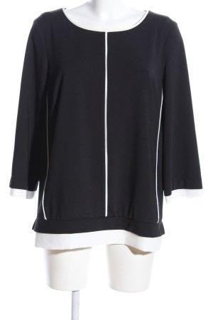 Gaia Kurzarm-Bluse schwarz-weiß Casual-Look