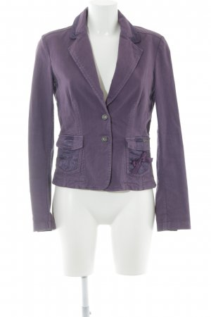 Galliano Kurz-Blazer violett Logo-Applikation