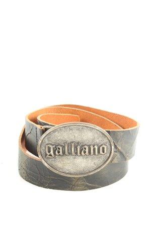 Galliano Lederimitatgürtel hellgrau Schriftzug gedruckt Casual-Look