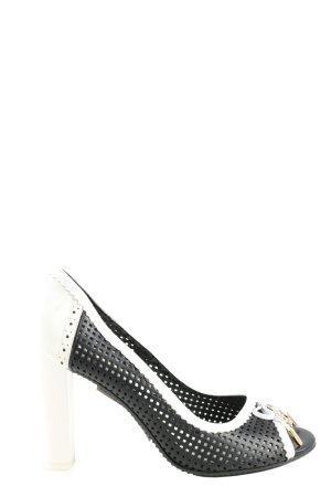 Galliano Peeptoe Pumps schwarz-weiß Casual-Look
