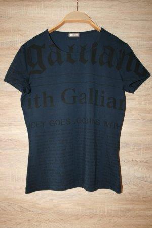 Galliano Print-Shirt dunkelblau-schwarz Schriftzug gedruckt Casual-Look  neu!
