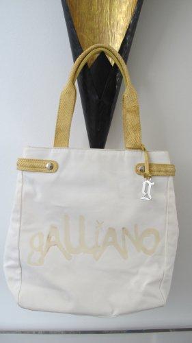 Galliano Torba shopper biały-piaskowy brąz Len