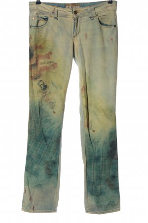 Galliano Straight-Leg Jeans blau-blassgelb Casual-Look