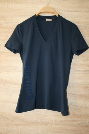 Galliano V-hals shirt donkerblauw Katoen