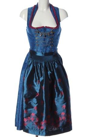 Gamsbock Dirndl blau Blumenmuster Casual-Look