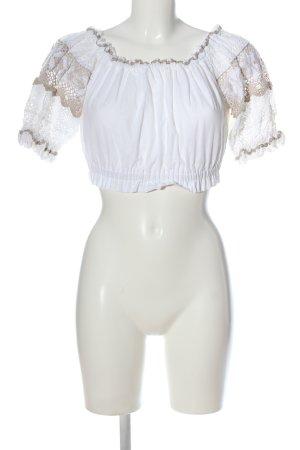 Gamsbock Blusa folclórica blanco-marrón look casual