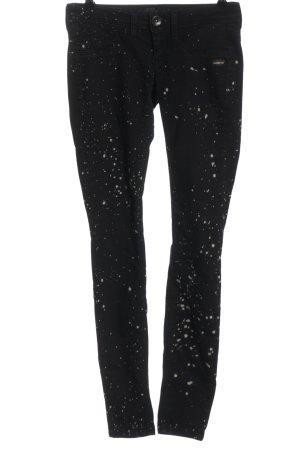Gang Jeans a vita alta nero-bianco sporco stampa integrale stile casual