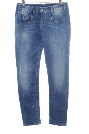 Gang Skinny Jeans blau-blassblau Logo-Applikation aus Leder