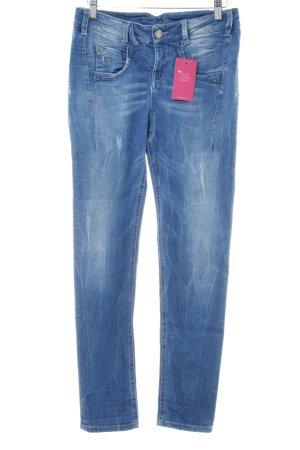 Gang Skinny Jeans stahlblau Logo-Applikation aus Leder