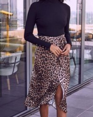 GANNI 100% Seide Leopard Leo Blogger Midi Rock Kleid XL 379€