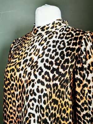 Ganni Blogger Leopard Leo Print 60s Kleid Dress Ballonärmel NEU M