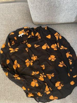 Ganni Camicetta a maniche lunghe nero-arancione chiaro