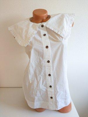 Ganni Bluse ärmellos mit großem vintage Kragen Gr. 40 weiß NEU!