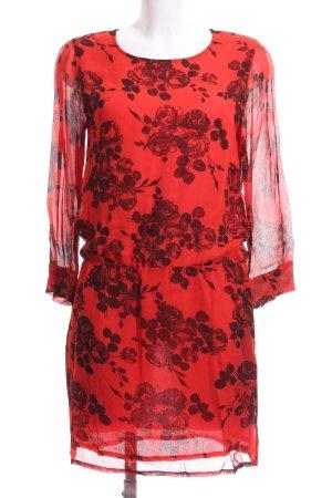 Ganni Blusenkleid rostrot-bordeauxrot Blumenmuster