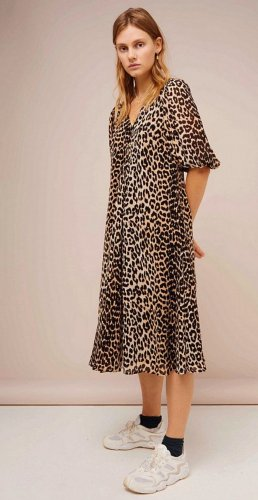 GANNI Boho Hippie Leopard Blogger Seide Kaftan Kleid Tunika Midi Dress 38 40 42