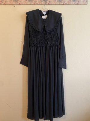 Ganni Chiffon Kleid mit Rüschenkragen