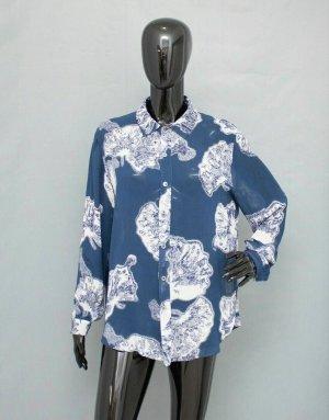 Ganni Damen Bluse floral langarm  Xs 34 blau