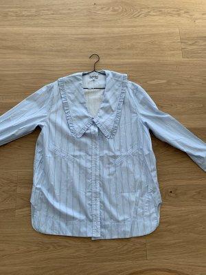 Ganni Shirt Blouse azure-white cotton