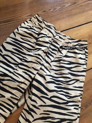 Ganni Hose PRINTED COTTON POPLIN HOSE Zebra ausgestellte Hose 34 Tiger Baumwollhose