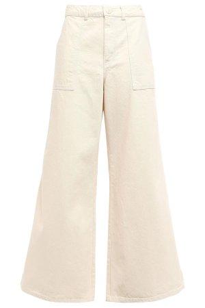 Ganni Jeans a vita alta bianco sporco-crema