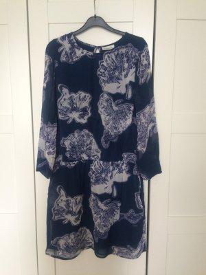 Ganni Kleid blau petrol Blumen Ginko Blatt