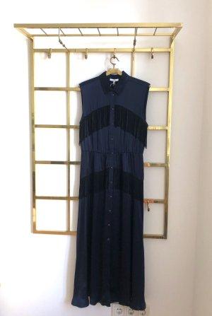 Ganni Sukienka z frędzlami ciemnoniebieski-czarny