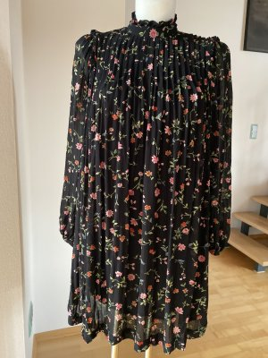 Ganni Kleid schwarz mit Blumen Minikleid rosa grün