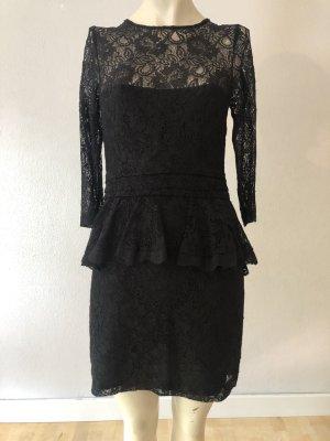GANNI Kleid, schwarz, Spitze, Schößchen, Gr. XS neuwertig NP: 175€