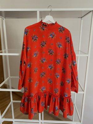 Ganni Kleid Seide Rot Gemustert