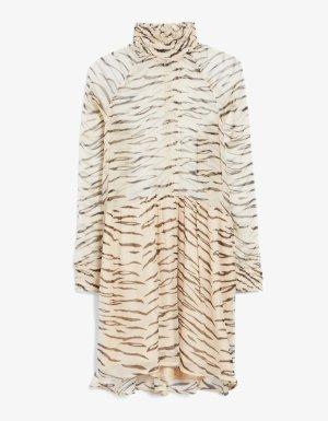 Ganni Chiffon jurk beige-zwart Viscose