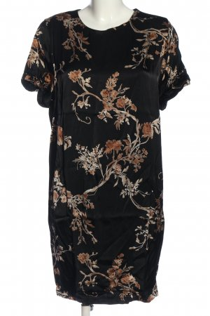 Ganni Kurzarmkleid schwarz-creme Blumenmuster Casual-Look