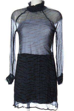 Ganni Langarmkleid schwarz abstraktes Muster extravaganter Stil