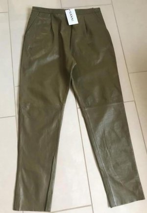 Ganni Leather Trousers olive green-green grey leather