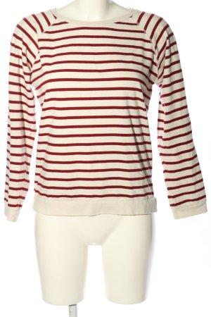 Ganni Longsleeve weiß-rot Streifenmuster Casual-Look