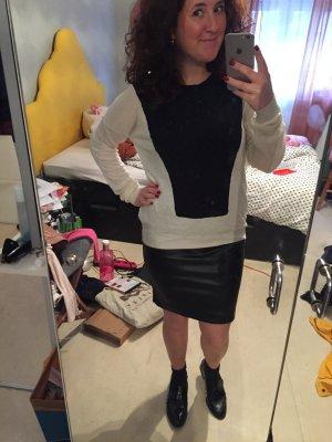 GANNI Manhattan Pullover M L XL Wolle schwarz weiß  40