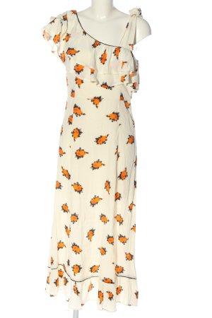 Ganni Maxi abito bianco sporco-arancione chiaro stampa integrale stile casual
