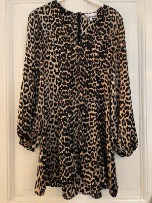 GANNI Minikleid aus Satin aus einer Seidenmischung mit Leopardenprint Leo-Dress 36