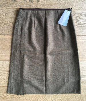 * GANNI * NEU ! MIDI ROCK WOLLE Falten braun - blaugrau Tweed Muster Gr M 38