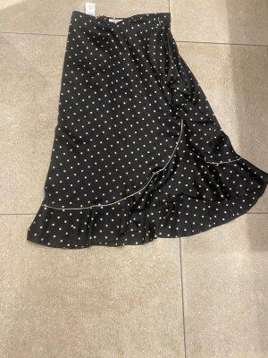 Ganni Falda de seda negro-blanco