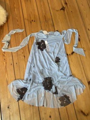 Ganni Kopertowa spódnica baby blue-błękitny Tkanina z mieszanych włókien