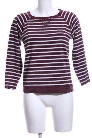 Ganni Rundhalspullover rot-weiß Streifenmuster Casual-Look