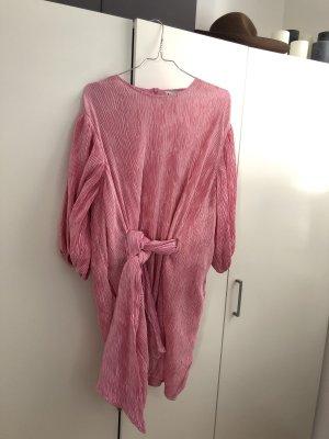 Ganni Satin pleated Kleid Cocktail rosa