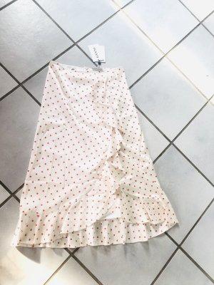 Ganni Silk Skirt cream-red silk