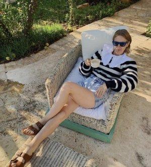 Ganni Sweater Strickpullover Blau Weiß gestrickt
