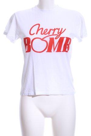 Ganni T-Shirt weiß-rot Schriftzug gedruckt Casual-Look