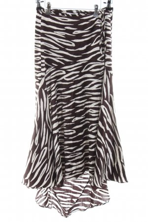 Ganni Falda cruzada marrón oscuro-crema estampado de animales look Street-Style